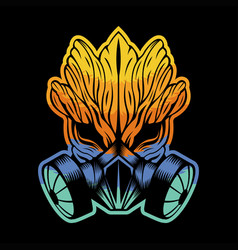 gas mask monster wood colorful vector image