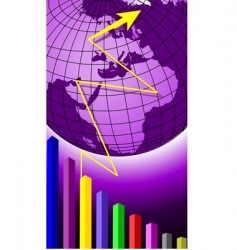 globe and graph vector image