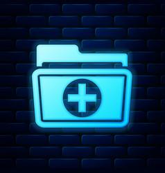 glowing neon medical health record folder vector image