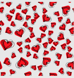 hand drawn background with hearts seamless grungy vector image