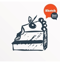 Hand drawn cake Sketched bite of sweet dessert vector