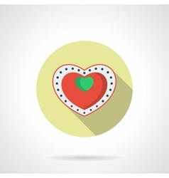 Heart box of chocolates round flat icon vector