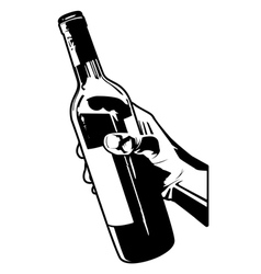 holding a bottle of wine vector image