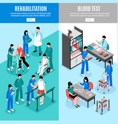 Hospital vertical isomeric banners set vector