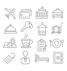 Hotel line icons vector