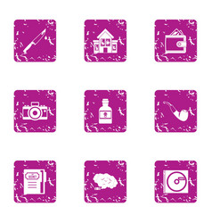 Household chores icons set grunge style vector