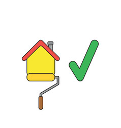 icon concept roller paint brush painting house vector image