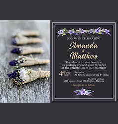 Invitation in the rustic style purple tones vector