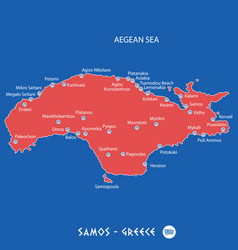 Island of samos in greece red map vector