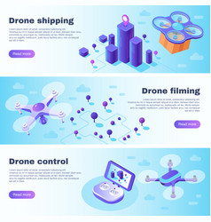 isometric drone banner flight drones delivery vector image