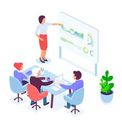 isometric female speaker conducting presentation vector image