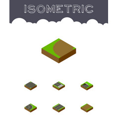 Isometric road set of footpath crossroad turning vector