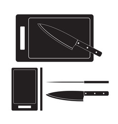 knife and cutting board icon flat vector image
