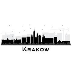 Krakow poland city skyline silhouette with black vector