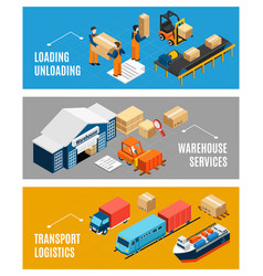 logistics isometric banners set vector image
