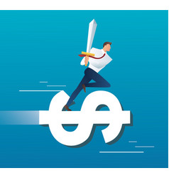 Man on dollar icon holding sword business concept vector