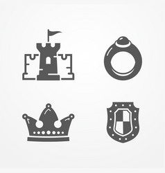 medieval kingdom icons vector image