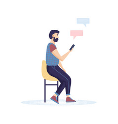 Men hipster with a beard holding smartphones vector