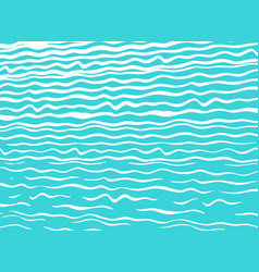 modern blue sea background with hand-drawn waves vector image