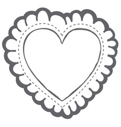 Monochrome silhouette decorative frame in heart vector