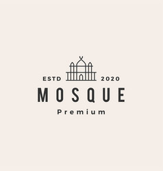 mosque hipster vintage logo icon vector image