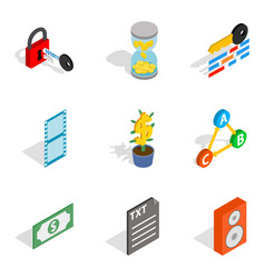Multicasting icons set isometric style vector