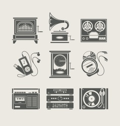 musical device set icon vector image
