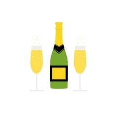 New Years bottle of sparkling wine and glasses vector image