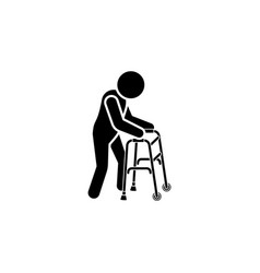 old man icon man with crutches icon crutch vector image