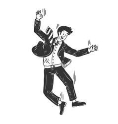 Optimistic man falling sketch vector