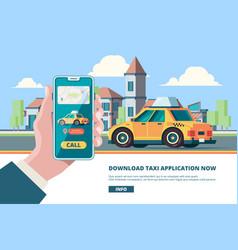 order taxi smartphone in hand online press order vector image