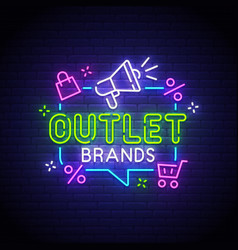 Outlet neon sign outlet logo vector