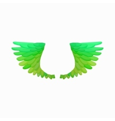 Pair of green bird wings icon cartoon style vector