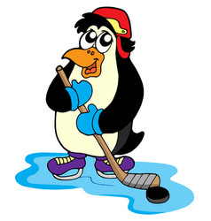 penguin hockey player vector image