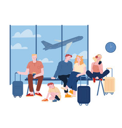 People in airport waiting boarding dad mom vector