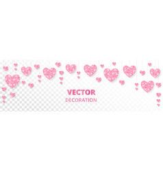 pink hearts frame border glitter isolated vector image
