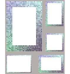 Pixel mosaic page border frame set vector