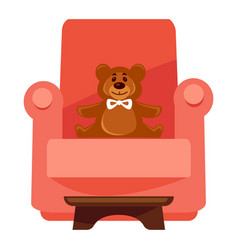 plush bear on red armchair vector image