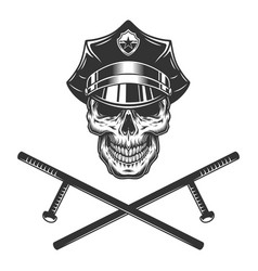 policeman skull with crossed police batons vector image