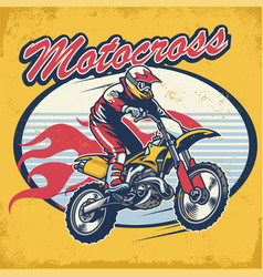 Retro motocross design badge vector