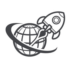 Retro rocket space ship success concept vector