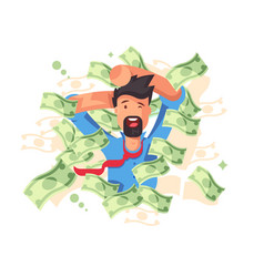 Rich smiling man bathing in money vector