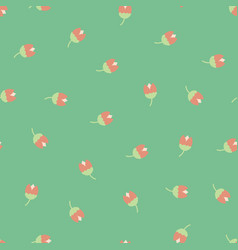 scattered ditsy flowers green pink seamless vector image