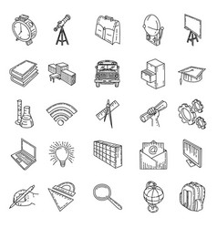 school set icon icon with doodle style and hand vector image