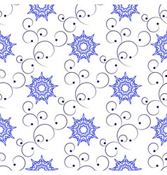 Seamless of blue east ornate branches and nine ang vector