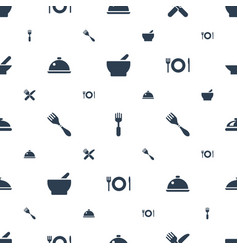 serving icons pattern seamless white background vector image