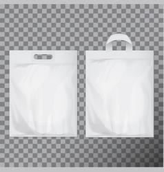 Set of empty white blank plastic bag mock up vector