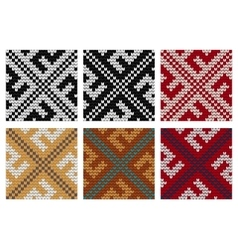 Set of Swastika knitting seamless patterns vector image