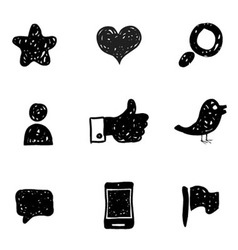 Sketch Social Media icons vector image