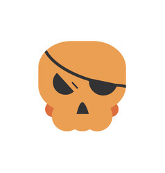 Skull with patch trick or treat happy halloween vector